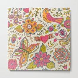 Floral Romantic Pattern 07 Metal Print