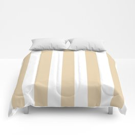 Durian White pink - solid color - white vertical lines pattern Comforters