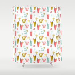 Happy Hour - Drinks cocktails art design illustration modern bright happy bar tiki hawaii island  Shower Curtain