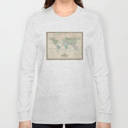 Vintage World Forest Map (1870) Long Sleeve T-shirt