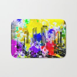 building of the hotel and casino at Las Vegas, USA with blue yellow red green purple painting abstra Bath Mat