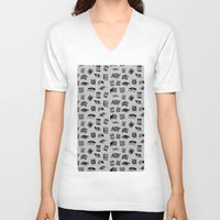 antique V-neck T-shirts featuring Antique Book Pattern by Stacey Muir