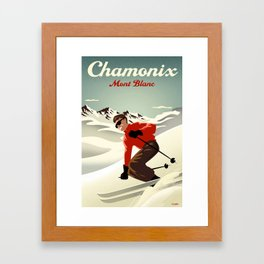 Chamonix Ski Poster Framed Art Print