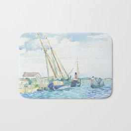 Marine Scene (Boats near Venice) by Henri-Edmond Cross1903, French Bath Mat