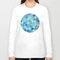 retro Long Sleeve T-shirts featuring Cobalt Blue, Aqua & Gold Decorative Moroccan Tile Pattern by micklyn