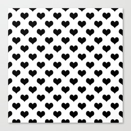 White Black Hearts Minimalist Canvas Print