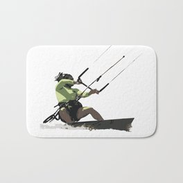 Going With The Wind Kiteboarding Vector Bath Mat