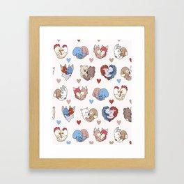 Vector cute animal hug hearts Framed Art Print