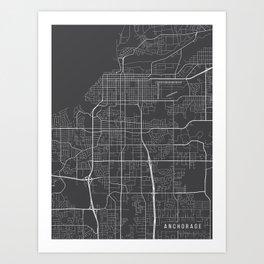 Anchorage Map, Alaska USA - Charcoal Portrait Art Print