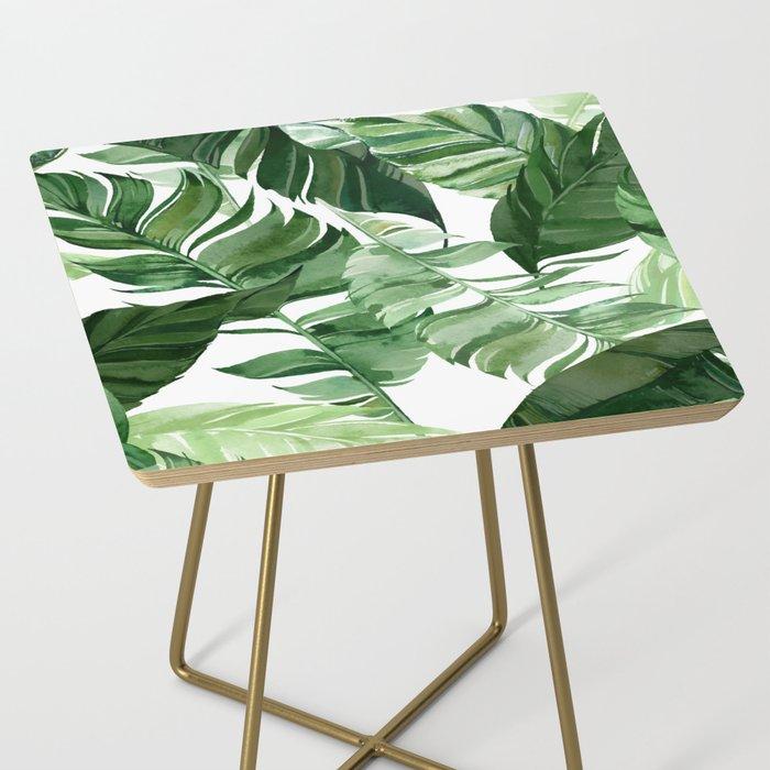 Green leaf watercolor pattern Side Table