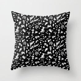 Memphis Night - black and white retro throwback 80's inspired pattern design Throw Pillow