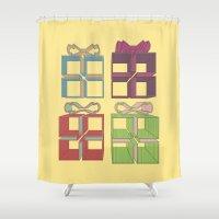 gift card Shower Curtains featuring Gift by Robert Leyen