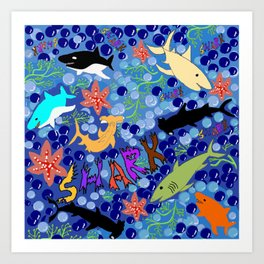 Happy Sharks Art Print