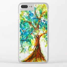 Gold Heart Tree Watercolor by CheyAnne Sexton Clear iPhone Case
