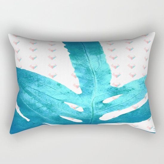 Pantone Rose Quartz Pink Fern Inverted Ice Blue Diamond Rectangular Pillow