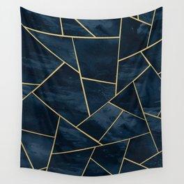Dark Midnight Navy Blue Gold Geometric Glam #1 #geo #decor #art Wall Tapestry