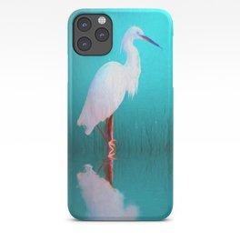 Egret in teal iPhone Case