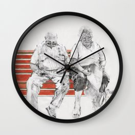 Couple on red bench Wall Clock