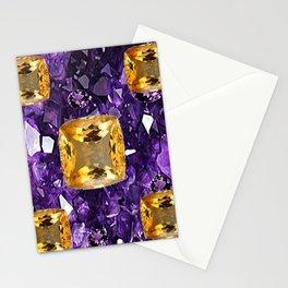 PURPLE AMETHYST & GOLDEN TOPAZ GEM CRYSTALS ART Stationery Cards
