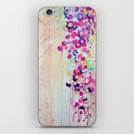 DANCE OF THE SAKURA - Lovely Floral Abstract Japanese Cherry Blossoms Painting, Feminine Peach Blue  iPhone Skin