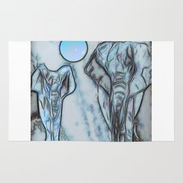 Elephants in blue Rug