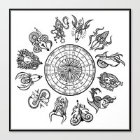 zodiac Canvas Prints featuring zodiac  by My dominance