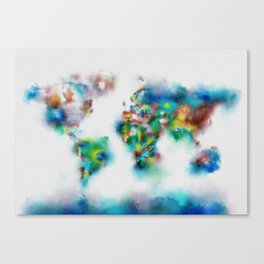 world map watercolor flags 2 Canvas Print