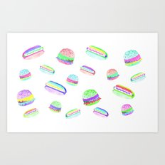 Colorful Hot-Dog and Burger Pattern Art Print