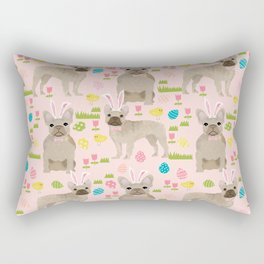 French Bulldog fawn coat easter eggs easter spring themed dog art pet portraits Rectangular Pillow