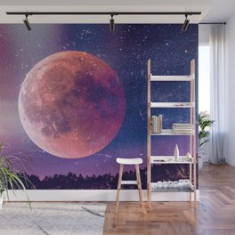 Blood Moon Over A Forest Wall Mural