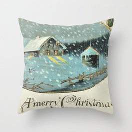 Snowy house in the woods vintage Throw Pillow
