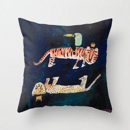 Tiger, Cheetah, Toucan Painting Throw Pillow