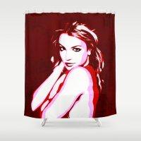 britney spears Shower Curtains featuring Britney Spears - Pop Art by William Cuccio aka WCSmack