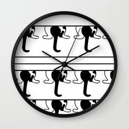 Black and White Kitty Cat Swag Kitty Wall Clock