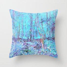 Van Gogh Trees & Underwood Aqua Lavender Throw Pillow