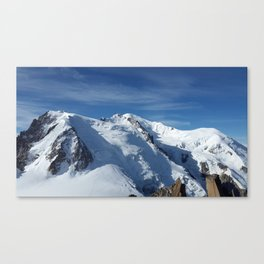 Awesome white snowy Mont Bla   nc Alps mountains in Italy, France, Europe on a beautiful winter day Canvas Print
