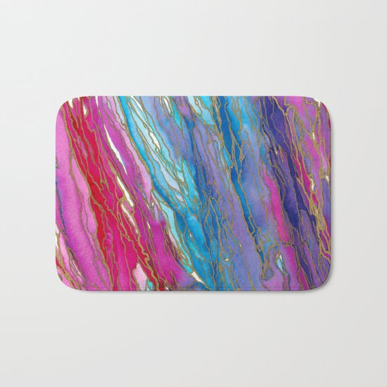 AGATE MAGIC PinkAqua Red Lavender, Marble Geode Natural Stone Inspired Watercolor Abstract Painting Bath Mat