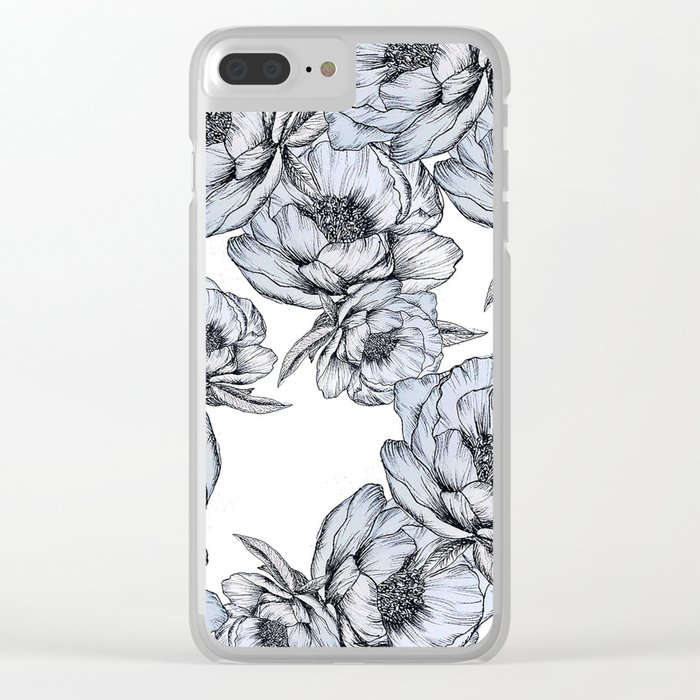 floating flowers Clear iPhone Case