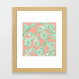 Tropical Palm Leaves Hibiscus Flowers Coral Green Framed Art Print