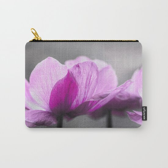 pink Anemone flowers on grey Carry-All Pouch