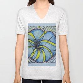Zentangle Blue Yellow Flower Unisex V-Neck
