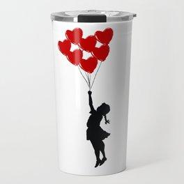 Girl With Heart Balloons Travel Mug