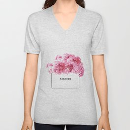 Fashion, Flowers, Pink, Modern, Minimal, Interior, Wall art Unisex V-Neck