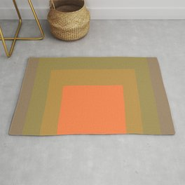 Block Colors - Muted Earthy Tones and Bright Orange Rug