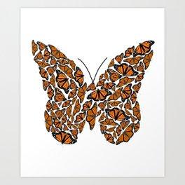 Monarch Butterfly made up from Monarch Butterlies Art Print