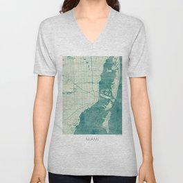 Miami Map Blue Vintage Unisex V-Neck