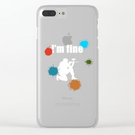 I'm Fine Funny Paintball Woodsball Skirmish Game Illustration Clear iPhone Case