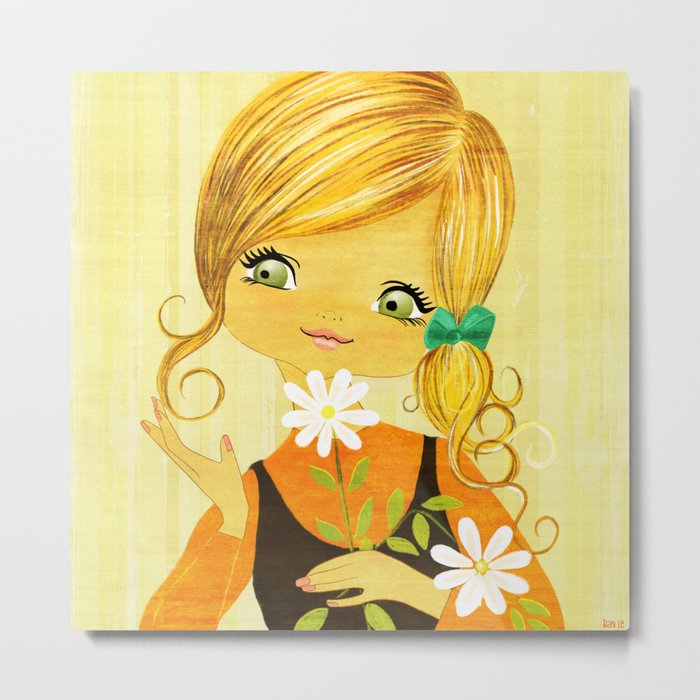 Sunshine Flower Girl Metal Print