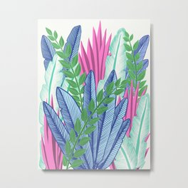 Modern Tropical Plants - Cool tones Metal Print