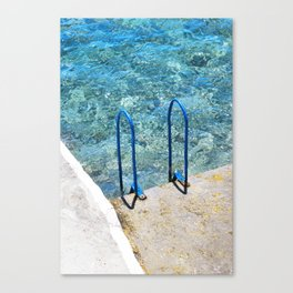 256. Sea Swimming Pool, Greece Canvas Print